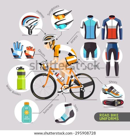 Road Bike Uniforms. Vector illustration.