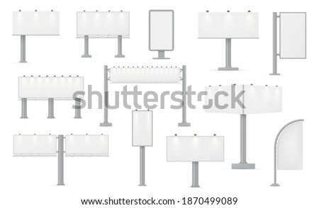 Road billboards realistic templates variety. Advertisement panels horizontal, vertical outdoor mock ups set. Street ads illuminated hoarding empty blank layout. Vector billboards isolated on white. Stock foto ©