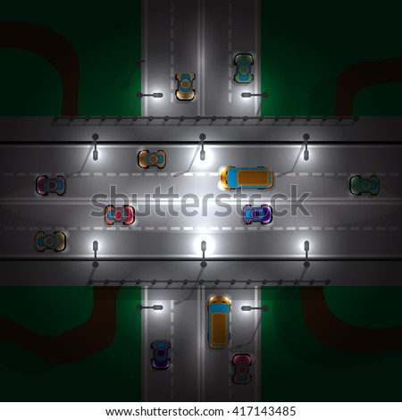road bridge at night  view