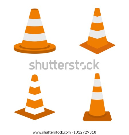 Road cone icon set. Flat set of road cone vector icons for web design isolated on white background