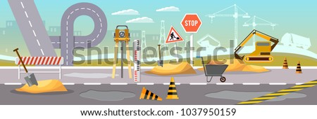 Road construction and repair vector banner. Repair is expensive in the city stock photo