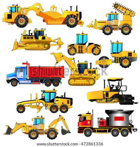 Road construction equipment set. Detailed vector icons, isolated on white. Digger, road rollers, loaders, bulldozer, tractor, scraper, grader, asphalt paver, mixer.