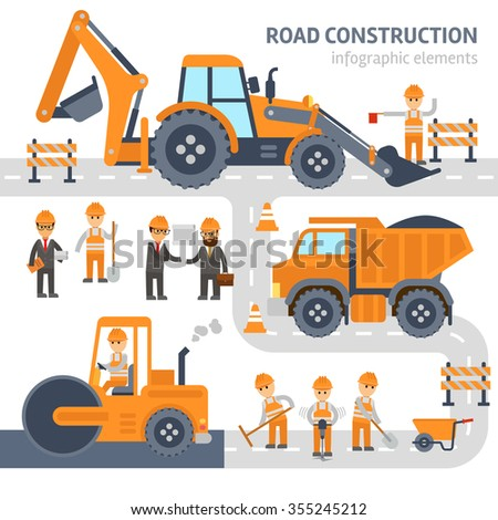 Road construction infographic elements vector flat design. Construction work, workers, excavator, roller, bulldozer.