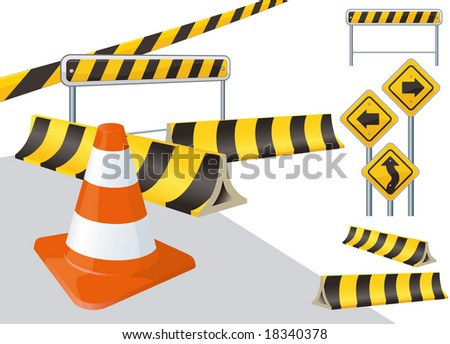 road construction vector signs