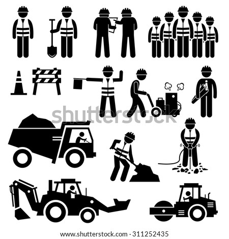 Road Construction Worker Stick Figure Pictogram Icons