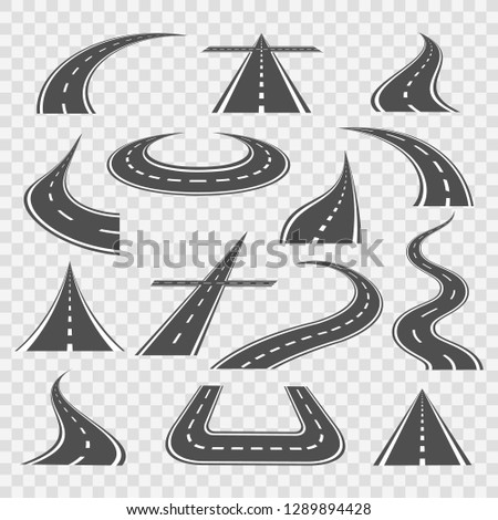 Road curves. Straight and highway roads ways vector illustration, transportation bended pathway curves isolated on transparent