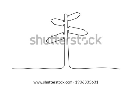 Road direction sign arrows isolated on white background. Continuous one line drawing. Vector illustration for banner, web, design element, template, postcard. Stock photo ©