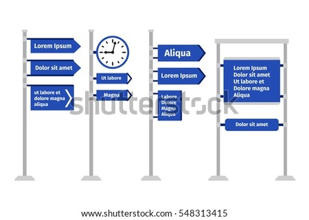 Road direction sign set vector illustration. Different types of roadsigns and signposts, arrows and boards isolated on white background