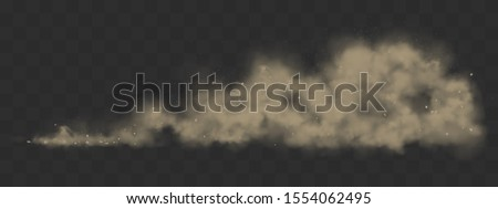 Road dust cloud from driving car or motorbike. Vector realistic splash of dirty powder, sand and stones under the wheels. Grunge texture of dusty trail from speed motion isolated on transparent grid