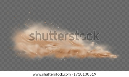 Road dust cloud with flying stones and particles isolated on transparent background. A cloud of dust sand flying from under the wheels of a fast-moving car or motorcycle. Realistic vector illustration Stock fotó ©