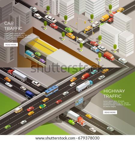road elements isometric banners