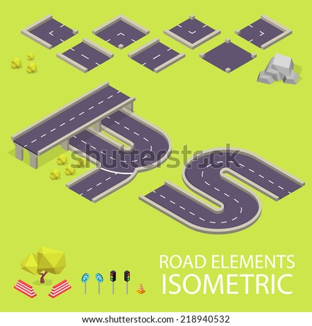 Road elements isometric. Road font. Letters R and S Stock fotó ©