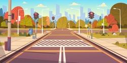 Road Empty City Street With Crosswalk And Traffic Lights Flat Vector Illustration