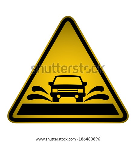 road flooding sign  vector