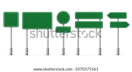 Road green signs. Vector blank isolated icons template #1070375561