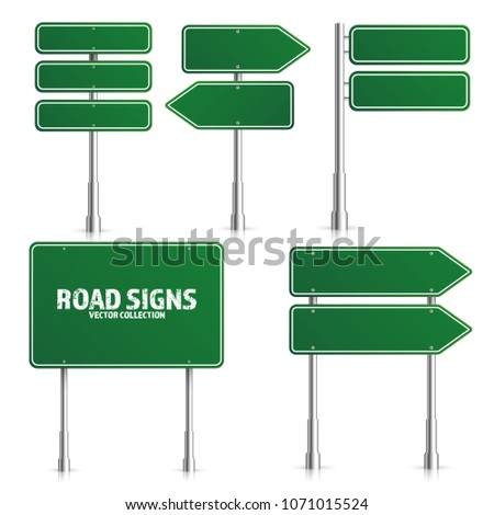 Road green traffic sign. Blank board with place for text.Mockup. Isolated on white information sign. Direction. Vector illustration. #1071015524