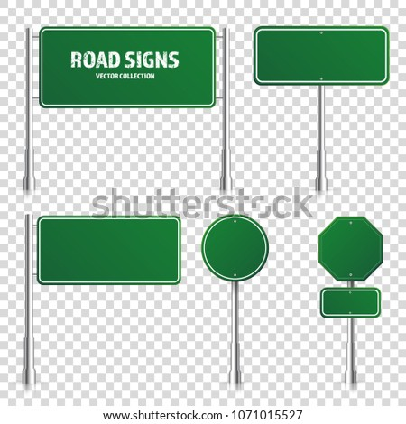 Road green traffic sign. Blank board with place for text.Mockup. Isolated on white information sign. Direction. Vector illustration. #1071015527