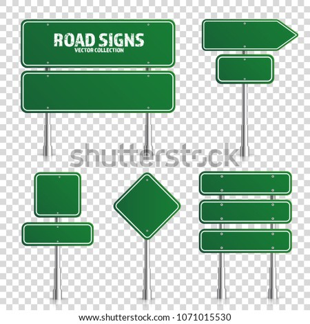 Road green traffic sign. Blank board with place for text.Mockup. Isolated on white information sign. Direction. Vector illustration. #1071015530
