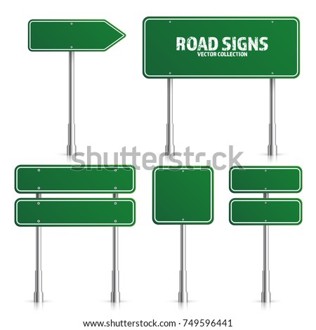 road green traffic sign blank