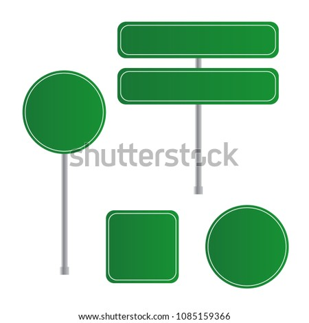Road green traffic sign. Board sign traffic. Highway or street c #1085159366