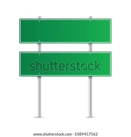 Road green traffic sign isolated on a white background #1089457562