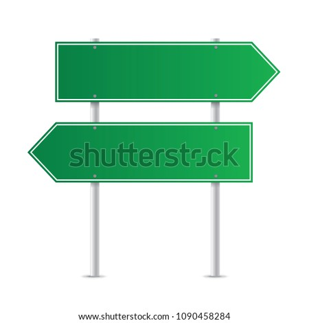 Road green traffic sign isolated on a white background #1090458284