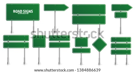 Road green traffic signs set. Blank board with place for text. Mockup. Isolated information sign. Direction. Vector illustration #1384886639