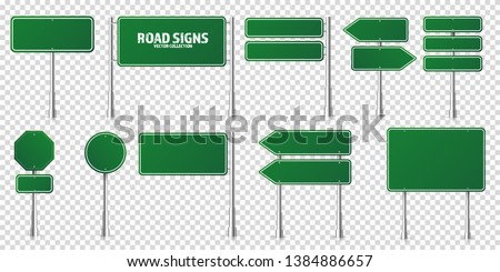 Road green traffic signs set. Blank board with place for text. Mockup. Isolated information sign. Direction. Vector illustration #1384886657