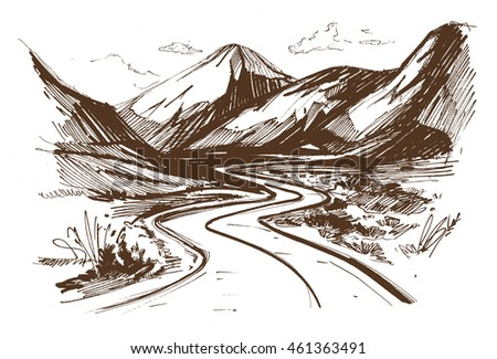 road hand drawn vector