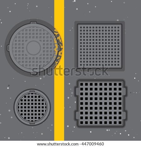 road hatches on asphalt road
