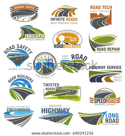 Road, highway and freeway isolated symbol set. Winding mountain road, crossroad, coastal highway and speedy freeway symbol for road building company, transportation services and traffic safety design