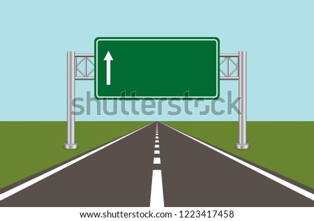 Road highway sign. Green board with arrow and road with markings. Vector illustration.