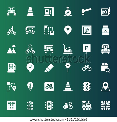 road icon set. Collection of 36 filled road icons included Vehicle, Railroad, Bicycle, Traffic light, Pins, Pin, Cone, Parking, Location, Route, Localize, Stop, Marker, Gasoline station