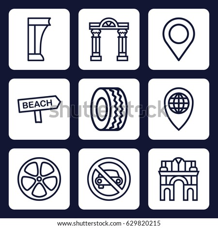 road icon set of 9 outline