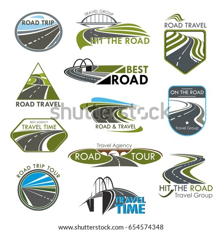 Road icons set for travel or tourist company and agency. Vector isolated symbols or badges with highways path, bridges and motorway lanes for road journey or travel voyage templates