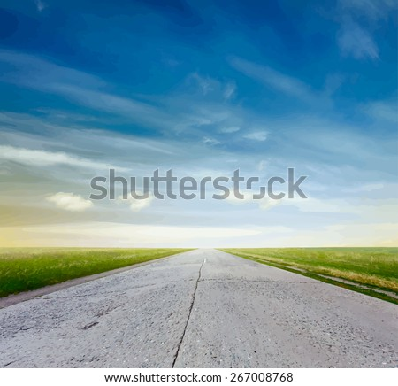 road in a fields at sunset