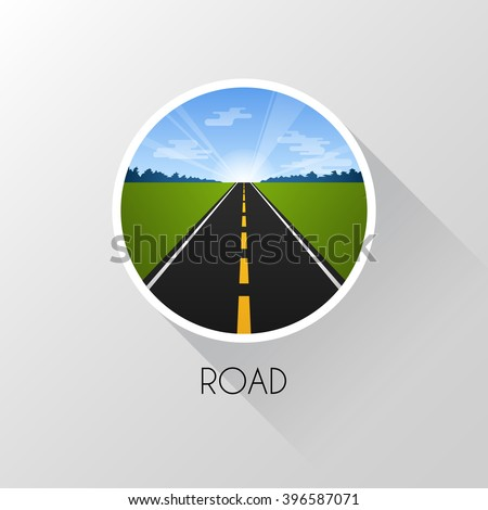 Road in perspective. Sunny weather. Flat style. Vector illustration.