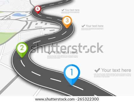 Road infographic with colorful pin pointer vector illustration