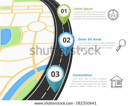 Road infographics template with three map markers and place for your text, vector eps10 illustration