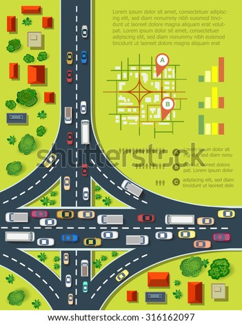 road infographics with highways