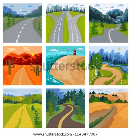 Road landscape vector roadway in forest and cityscape highway or roadside way to field lands with grass and trees in countryside illustration set of traveling in country or seaside