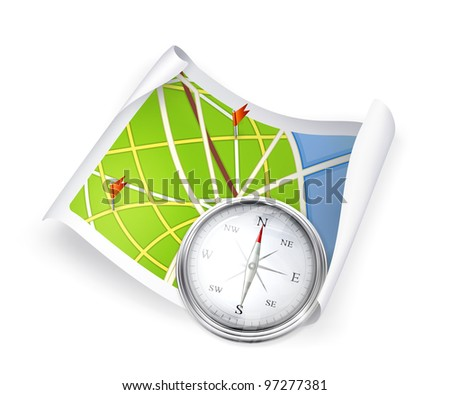 Road Map and compass, vector