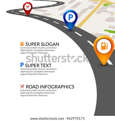 Road map city infographic with colorful pins pointer. Road map template.