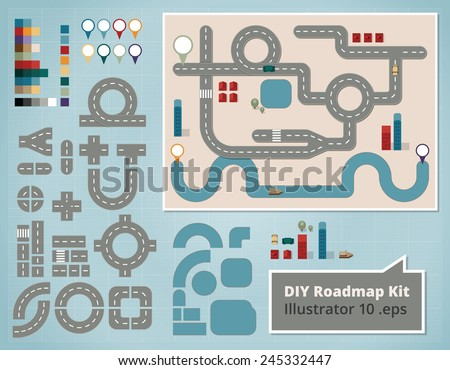 road map design elements  set