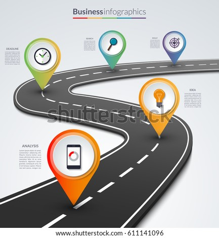 Road map infographic template with 5 colorful pin pointers on the way.