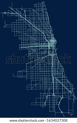 road map of chicago  illinois