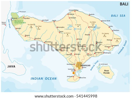 Vector bali map download free vector art stock graphics images road map of the indonesian island of bali gumiabroncs Gallery
