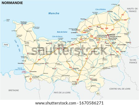 Road map of the new French region of Normandy in French language