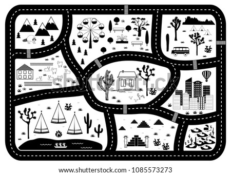 Road, Mountains and Woods Adventure Map. Kids play carpet or poster with native americans tribal elements. Trendy black and white Scandinavian Style. Vector illustration #1085573273
