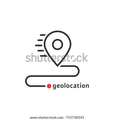 road path like thin line map geolocation icon. flat outline simple abstract mapping logotype brand graphic ui design isolated on white. concept of show or check transport route or find the right place